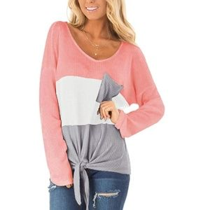 JAIMIE Tie-Front Long Sleeve Striped Top
